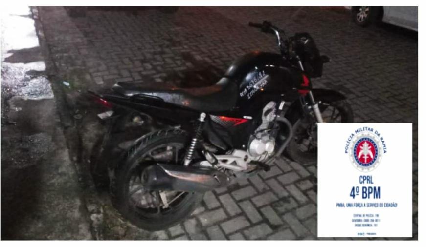 Policiais do Quarto Batalhão recuperam motocicleta roubada em Itanagra