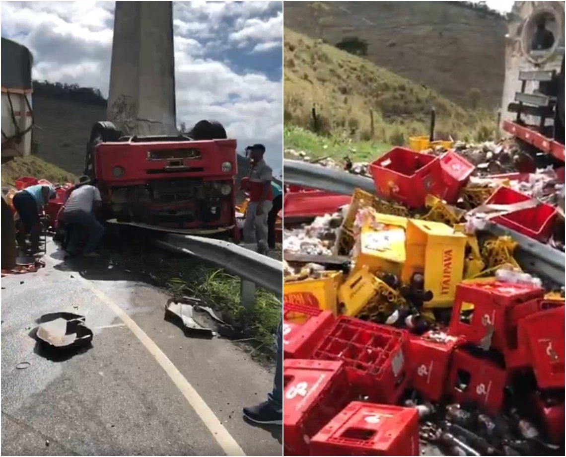 VÍDEO: caminhão carregado de cervejas tomba e deixa ao menos quatro feridos em Vitória da Conquista