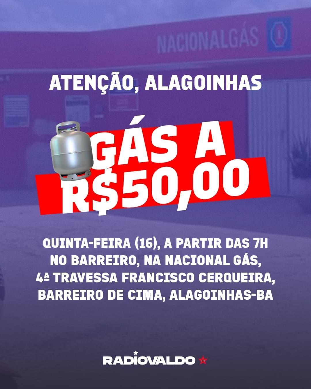 Alagoinhas: Ação leva gás de cozinha a preço justo nesta quinta-feira(16); confira