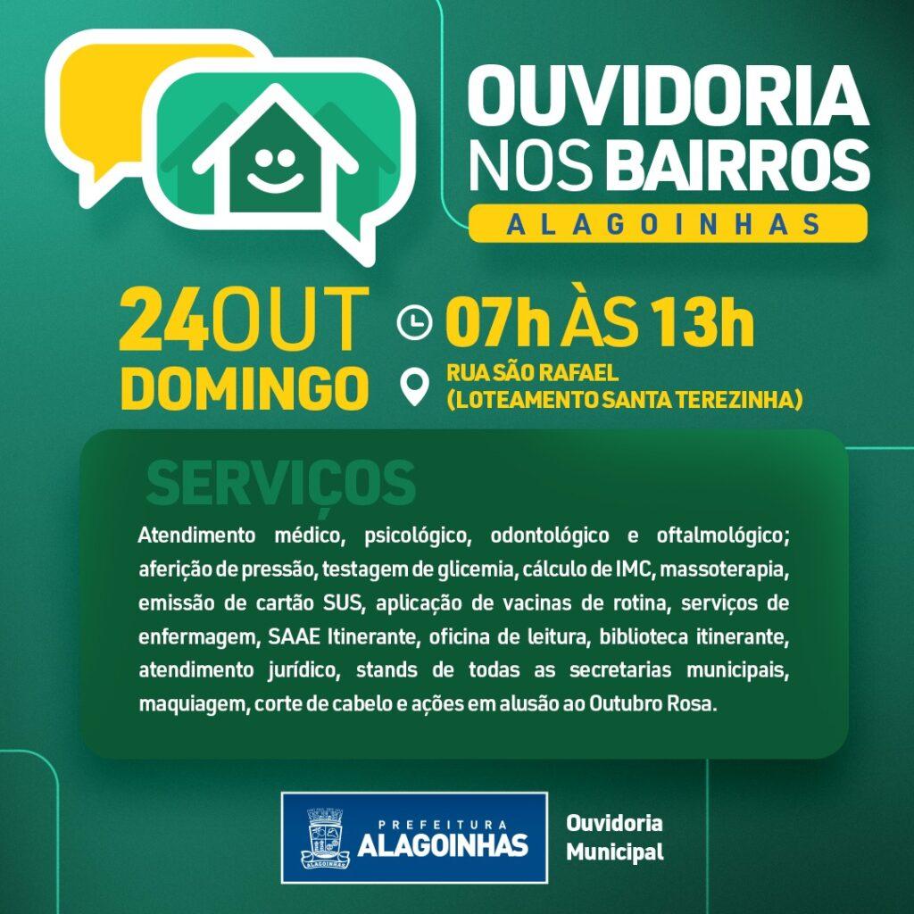 Neste domingo(24) tem Ouvidoria nos Bairros em Santa Terezinha; diversos serviços serão oferecidos à população